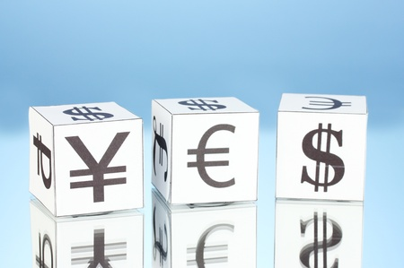 forex. currency in the white dices on blue background photo