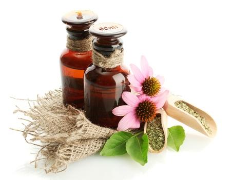 medicine bottles with purple echinacea , isolated on white Stock Photo - 14953678