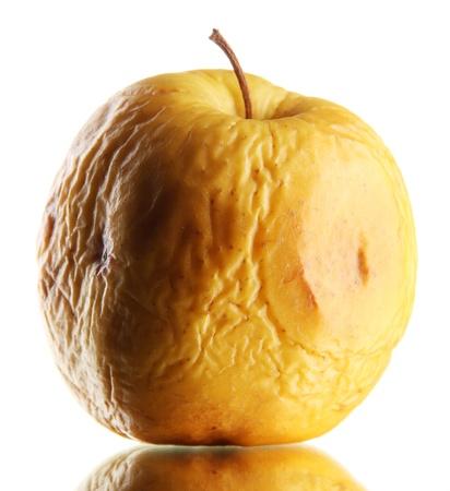 pomme jaune: Pomme jaune comme concept probl�mes de peau, isol� sur blanc Banque d'images