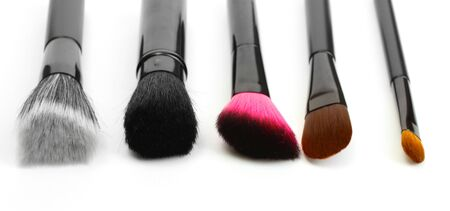 makeup a brush: black brushes for make-up isolated on white  Stock Photo