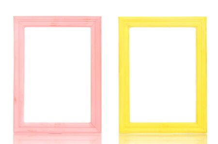 Wooden frames isolated on white  photo