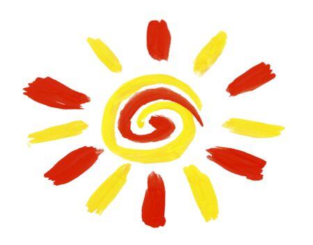 Peinture soleil sur fond blanc Banque d'images