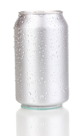 aluminum can with water drops isolated on white Stock Photo - 15009016