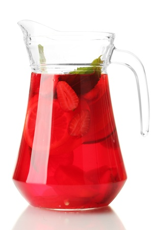 pitcher: sangria in jar, isolated on white Stock Photo
