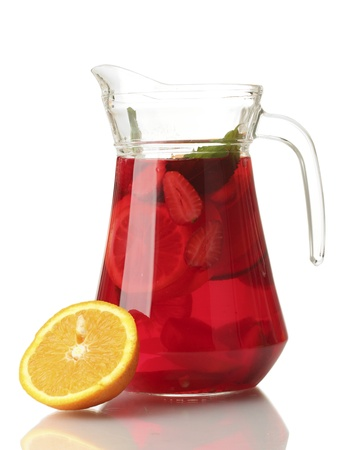 sangria in jar with orange, isolated on white photo