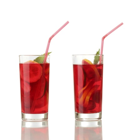 sangria in glasses, isolated on white Stock Photo - 15000670