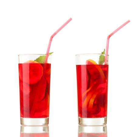 sangria in glasses, isolated on white Stock Photo - 15000649
