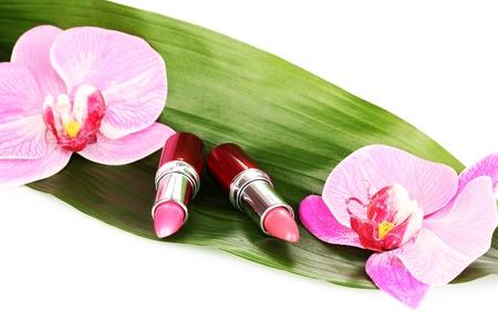 lipsticks on green leaf isolated on white Stock Photo - 15015181