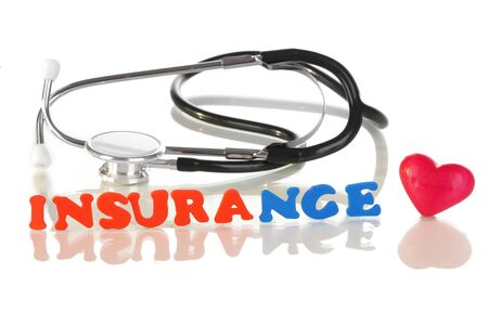 liability insurance: concept of health insurance isolated on white Stock Photo