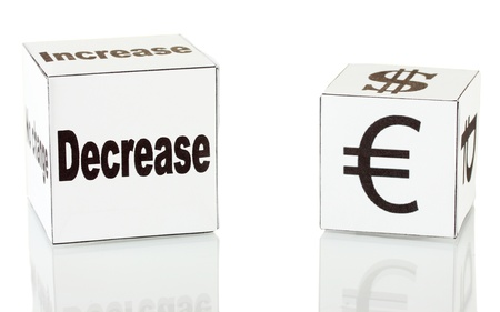 decreasing: forex. currency in the white dices on white background