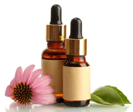 bottles with essence oil with purple echinacea , isolated on white Stock Photo - 15008986
