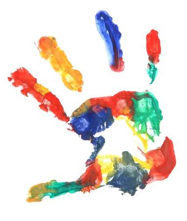 vibrant colors fun: Colore stampa a mano, isolato su bianco Archivio Fotografico