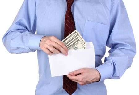 gets: man gets out of the envelope dollars on white background close-up