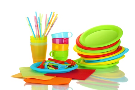 bright plastic disposable tableware isolated on white background Stock Photo