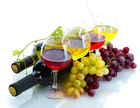 bottles and glasses of wine and ripe grapes isolated on white Stock Photo - 15065292