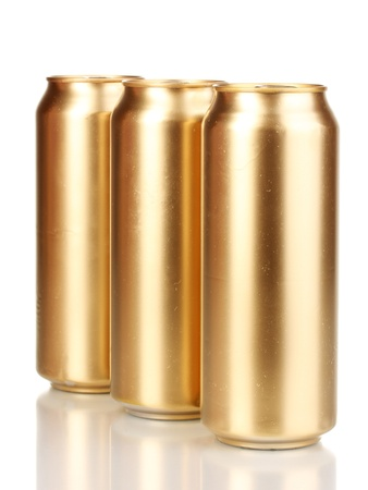 beer can: golden cans isolated on white Stock Photo