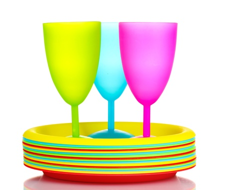 Bright plastic tableware isolated on white Stock Photo