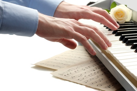 hands of man playing piano Stock Photo - 15048478