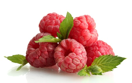 ripe raspberries with mint  isolated on white
