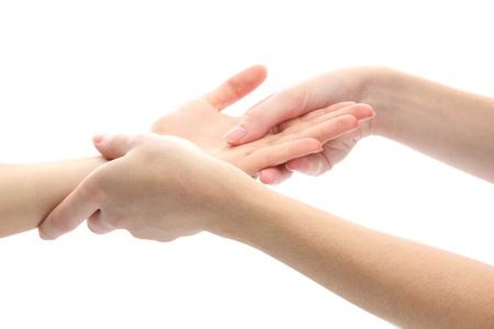 masajes relajacion: Masaje de la mano, aislados en blanco Foto de archivo