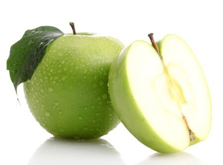 Ripe green apple with leaf and half, isolated on white photo