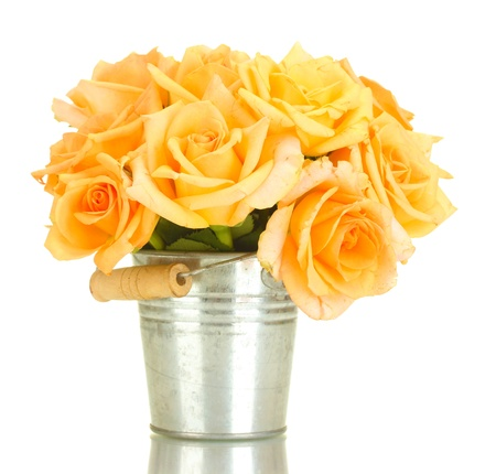 valentinas: beautiful bouquet of roses in bucket isolated on white  Stock Photo
