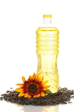 cooking oil: sunflower oil in a plastic bottle isolated on white background Stock Photo