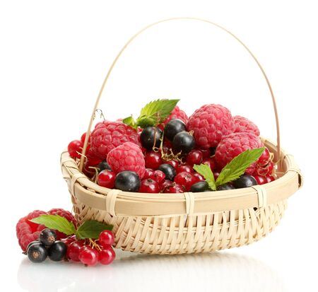 ripe berries with mint in basket isolated on white Stock Photo - 15116872