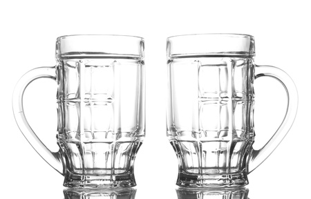 empty beer glasses, isolated on white Stock Photo - 15115369