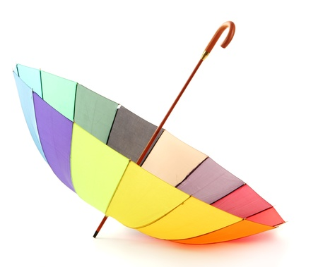 kleurrijke paraplu, geïsoleerd op wit Stockfoto