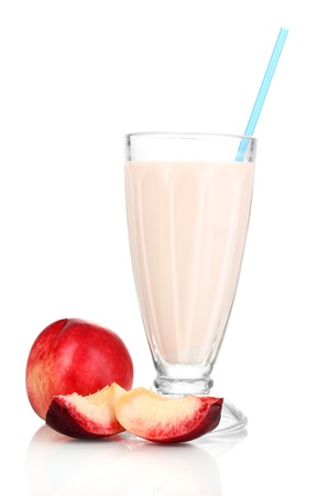 Peach milk shake isolated on white