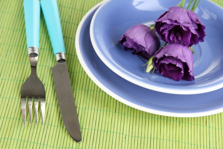 Tableware with flower on bamboo mat close-up photo