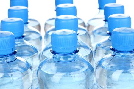 mineral water: plastic bottles of water close-up