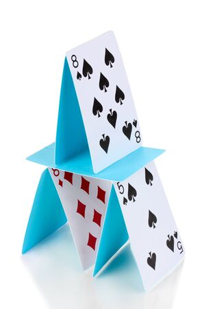 instability: Card house isolated on white Stock Photo