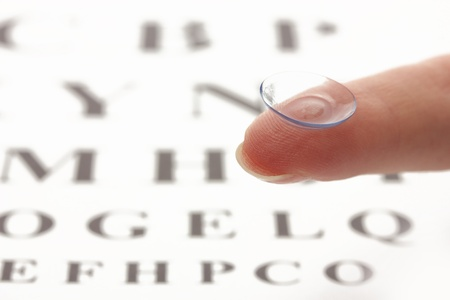 contact lens on finger, on snellen eye chart background photo