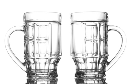 empty beer glasses, isolated on white photo