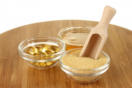gelatine: Gelatin in bowls on wooden background close-up