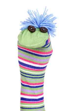 Cute sock puppet isolated on white Stock Photo - 15160420