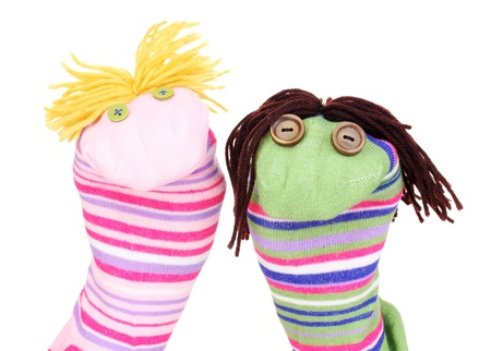 sock puppet: Cute sock puppets isolated on white Stock Photo