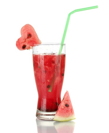 A glass of fresh watermelon juice isolated on white photo