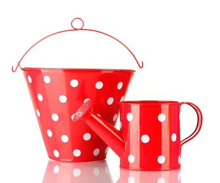 Red watering can and bucket with white polka-dot isolated on white photo