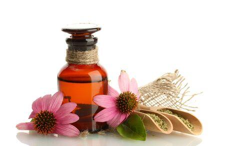 medicine bottle with purple echinacea , isolated on white Stock Photo - 15505024