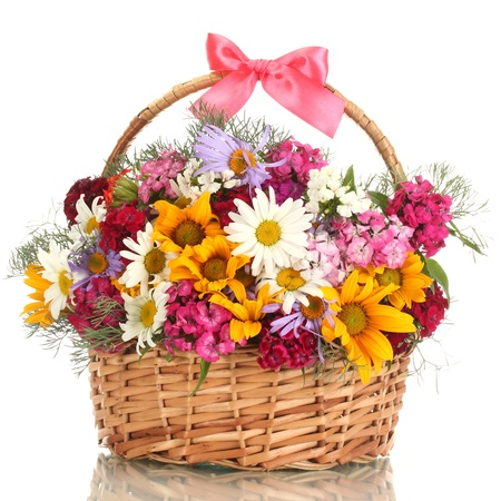 flowers bouquet: beautiful bouquet of bright  wildflowers in basket, isolated on white