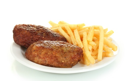 fish culture: Potatoes fries with burgers in the plate isolated on white close-up