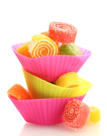bonbon: sweet jelly candies in cup cake cases isolated on white