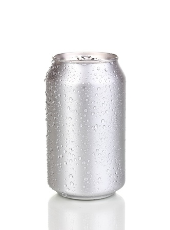 aluminum can with water drops isolated on white Stock Photo - 15244234