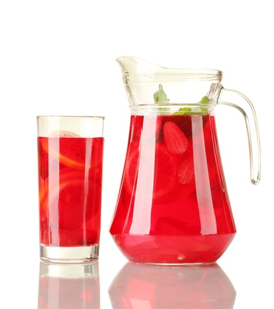 sangria in jar and glass, isolated on white photo