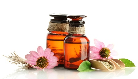 medicine bottles with purple echinacea , isolated on white Stock Photo - 15247212