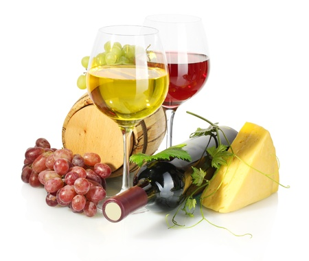 barrel, bottle and glasses of wine, cheese and ripe grapes isolated on white Stock Photo - 15368076