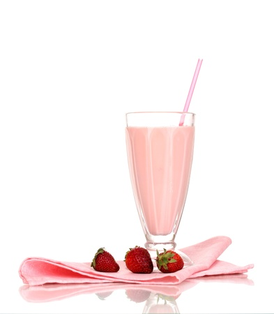 Strawberry milk shake isolated on white photo